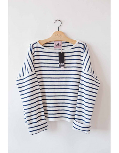 Popeye breton shirt - White with navy...