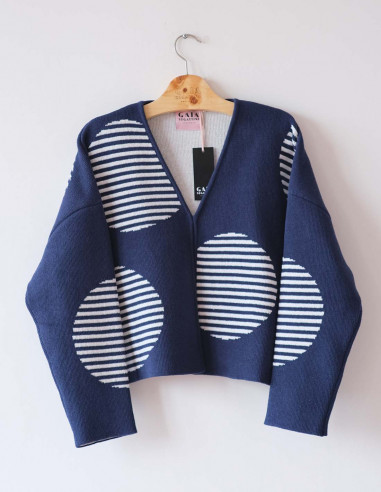 Tokyo Cardi - Navy and white - Size 1