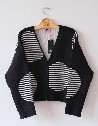 Tokyo Cardi - Black and white - Size 2