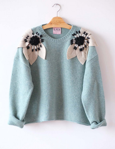 Bloom Sweater - Mint with ecru and...