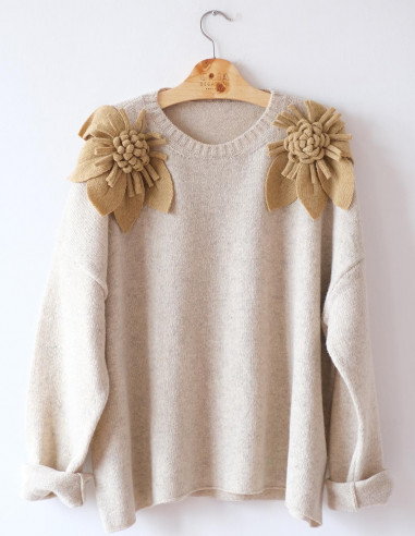 Bloom Sweater - Natural - Mustard...