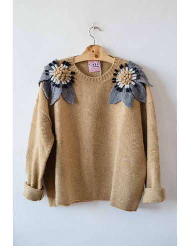 Bloom Sweater - Mustard with grey,...