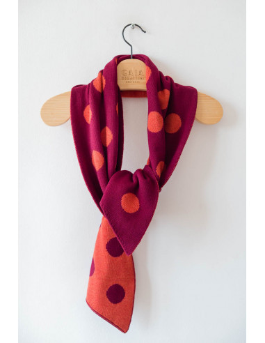 Bubble Scarf - Wine with tangerine...