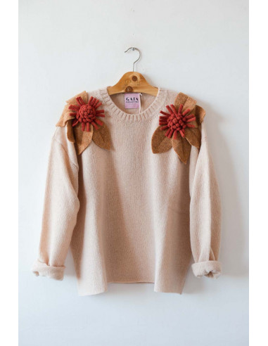 Bloom Sweater - Powder Pink with...