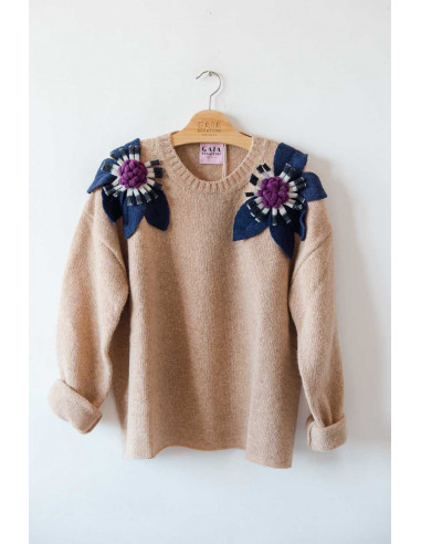 Bloom Sweater - Camel with Blue, B/W...