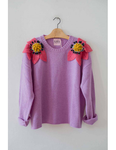 Bloom Sweater - Lilac with...