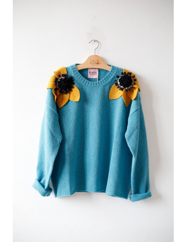 Bloom Sweater - Turquoise with...